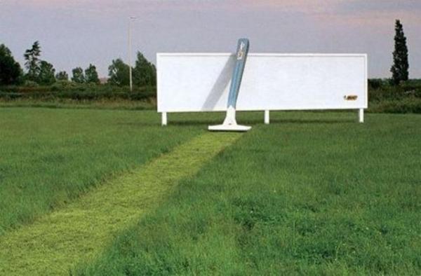 Il divertente cartellone pubblicitario di un rasoio