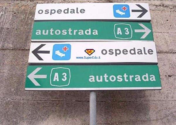 cartello stradale divertente (ospedale-autostrada)