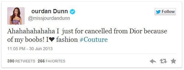 Jourdan Dann licenziata da Dior: il suo seno è troppo prosperoso
